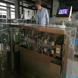 Brazil customer checking plastic bottle forming, filling and sealing machine in our factory